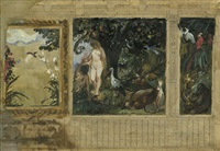 der sündenfall - eva reicht adam den apfel (design for mural) by paul friedrich meyerheim