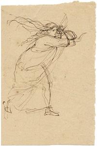 kriemhild (+ skizze zur figur des angeketteten hagen von tronje, verso) (+ another; 2 works) by julius schnorr von carolsfeld