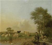 flusslandschaft mit kühen, einem angler und einem zeichner by albert jansz klomp