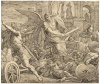 sanheribs macht wird auf hiskias gebet gebrochen (der erzengel gottes schlägt die armee des assyrers) by julius schnorr von carolsfeld