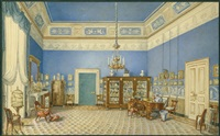 blick in ein empire-schreibzimmer mit chiffonière-kommode und sammlungsvitrine, rechts eine schreibende dame am bureau plat by leopold lelÿ