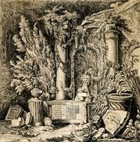 ruinencapriccio mit kalender by johann jakob lorenz billwiller