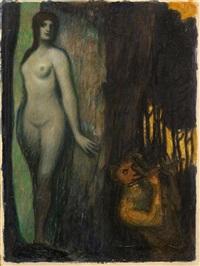 satyr und nymphe by adolf frey-moock