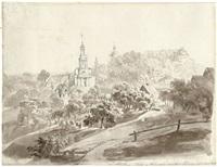 ansicht von der kirche und dem schloß wolkenburg in sachsen by karl gottfried traugott faber