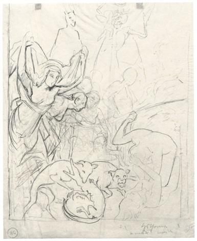 apokalyptische szene mit kämpfenden tieren 2 others 3 works by hans thoma