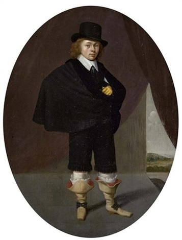 stehender junger mann mit hut by dirck dircksz van santvoort