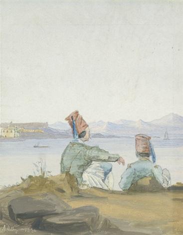 zwei griechen an einer küste sitzend auf das meer und die gegenüberliegenden berge blickend by daniel hermann anton melbye
