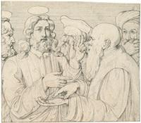 der zinsgroschen + 4 others, incl. 2 pen & ink; 5 works mntd together) by franz nadorp