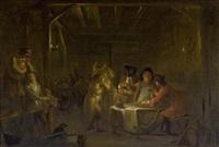 wirtshausszene mit musikanten, soldaten und gästen an einem tisch by johann heinrich keller