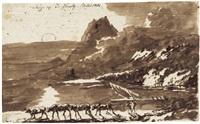 felsige meeresküste mit einem von kühen gezogenem treidler by janus genelli