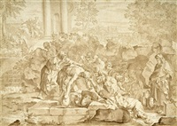 szene aus der antiken geschichte: ein mann gibt dürstenden zu trinken by jacopo alessandro calvi