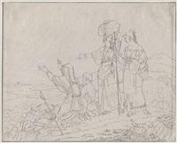 eine gruppe von pilgern aus albano auf einem hügel vor rom by gustav heinrich naeke