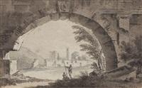 blick auf das schloss von kazimierz dolny bei lublin, im vordergrund zwei wanderer unter einem ruinenbogen by zygmunt vogel