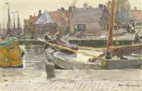 fischerdorf mit kähnen im kanal (spakenburg in holland) by hans herrmann