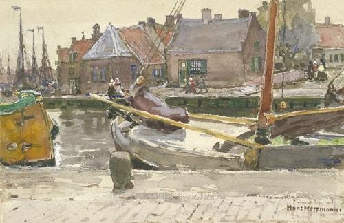 fischerdorf mit kähnen im kanal spakenburg in holland by hans herrmann
