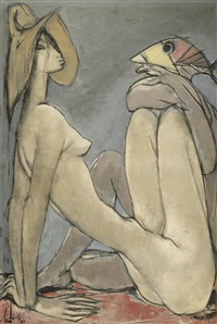 weiblicher akt mit fisch by albert (lindegger) lindi