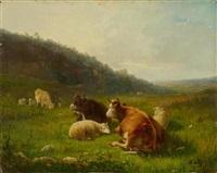 landschaft mit kühen (+ landschaft mit schafen; pair) by andré cortes