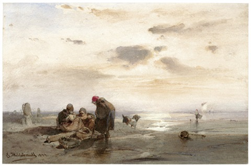 fischerfrauen am strand by eduard hildebrandt