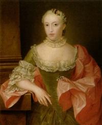 portrait einer dame mit saphir-perlen-brosche by jean fournier