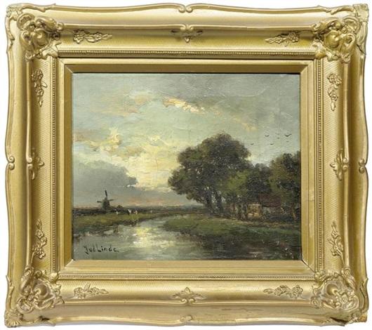 Holländische Flusslandschaft mit Mühle by Jan van der Linde on artnet