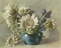 disteln in blauer vase by margaretha roosenboom