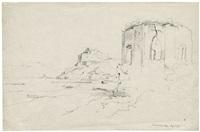 ansicht des tempels der venus bei bajae (+ blick über den golf auf sorrento und capri, verso) by johann adolf hoeffler