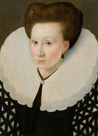 portrait of a lady with a pearl necklace by françois quesnel