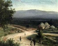 landschaft mit gebäuden und menschen auf wegen by mo givanian