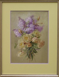 still life with roses and lilac by theresa maria hegg
