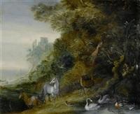 paradiesische tierlandschaften (pair) by roelandt savery