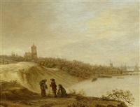 blick über den rhein auf die stadt arnheim by cornelis simonsz van der schalcke