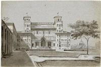 blick auf die villa medici vom garten aus, im hintergrund die kuppeln von rom by francois honorè georges jacob-desmalter