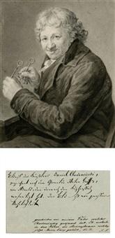 bildnis daniel chodowiecki in halbfigur nach links an einem tisch sitzend, die brille in den händen (after anton graff) by friedrich arnold
