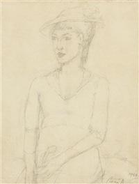 porträt einer dame mit hut by rené (victor) auberjonois