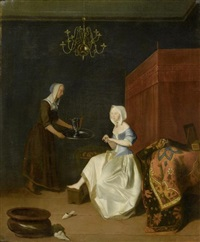 edle dame mit dienerin in einem interieur by jacob ochtervelt
