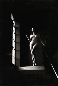 nude on stairway by helmut newton