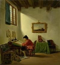 interieur mit einem notar by abraham van stry the elder