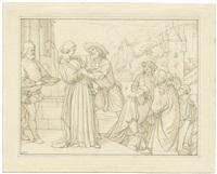graf ulrich im linzgau und wendelgard (sketch for print) by edward jakob von steinle