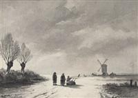 winterlandschaft mit reisigsammlern auf einem gefrorenem see by andreas schelfhout