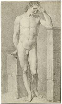 stehender männlicher akt, den kopf in die hand gestützt (+ 2 others; 3 works) by conrad l' allemand