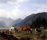 berglandschaft mit kühen und einem hirten by friedrich karl joseph simmler