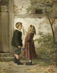 zwei kinder vor einem hauseingang by martin (ludwig m.) wilberg