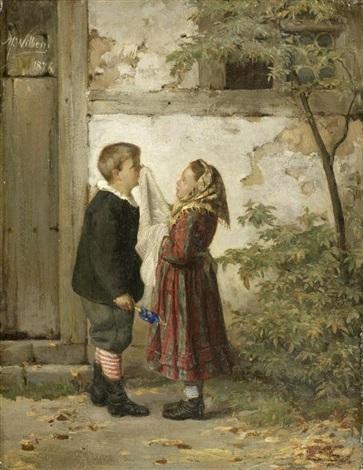 zwei kinder vor einem hauseingang by martin ludwig m wilberg