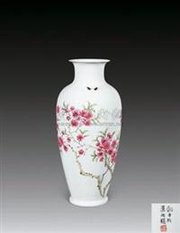 粉彩水点桃花瓶 (porcelain vase) by liu ping