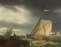 dutch ships on a stormy sea by frans swagers