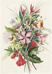 blumenbouquet mit orangenblüten by adolf (carl) senff