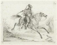 mameluke zu pferd (after carle vernet) by johann rudolf koller