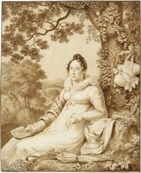 elegant gekleidete dame mit kaschmirschal und schute, ariost lesend, vor einer landschaft, im hintergrund ansicht eines dorfes by santo soldaini