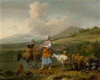 mediterrane landschaft mit bäuerin und vieh by hendrick mommers