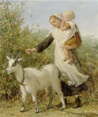 mutter mit kind und ziege by william charles thomas dobson